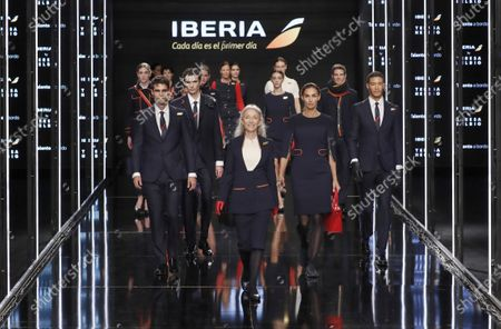 Models present the new uniforms for Iberia airlines, made by Spanish designer Teresa Helbig, during the Mercedes-Benz Fashion Week 2020 Madrid, in Madrid, Spain, 01 February 2020. The Fall/Witer 2020/21 collections are presented at the MBFW Madrid from 28 January to 02 February.