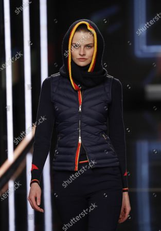 Stock Photo of A model presents the new uniforms for Iberia airlines, made by Spanish designer Teresa Helbig, during the Mercedes-Benz Fashion Week 2020 Madrid, in Madrid, Spain, 01 February 2020. The Fall/Witer 2020/21 collections are presented at the MBFW Madrid from 28 January to 02 February.