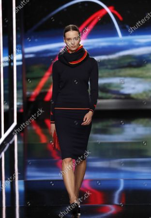 A model presents the new uniforms for Iberia airlines, made by Spanish designer Teresa Helbig, during the Mercedes-Benz Fashion Week 2020 Madrid, in Madrid, Spain, 01 February 2020. The Fall/Witer 2020/21 collections are presented at the MBFW Madrid from 28 January to 02 February.