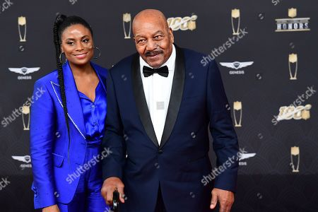 Monique Brown, Jim Brown. From left, Monique Brown and Jim Brown arrive at the 9th Annual NFL Honors at the Adrienne Arsht Center in Miami on