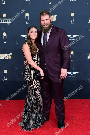 Travis Frederick, Kaylee Frederick. Travis Frederick and Kaylee Frederick arrive at the 9th Annual NFL Honors at the Adrienne Arsht Center in Miami on