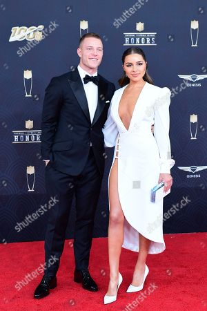Christian McCaffrey, Olivia Culpo. Christian McCaffrey and Olivia Culpo arrive at the 9th Annual NFL Honors at the Adrienne Arsht Center in Miami on