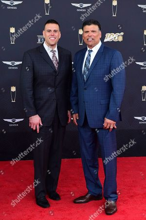 Stock Image of Anthony Munoz, Michael Munoz. Anthony Munoz, right, and Michael Munoz attend the 9th Annual NFL Honors at the Adrienne Arsht Center in Miami on