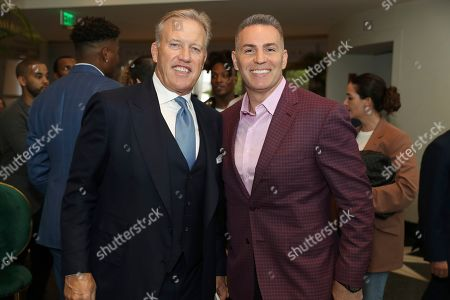 John Elway, Kurt Warner. John Elway, left, and Kurt Warner attend the 9th Annual NFL Honors at the Adrienne Arsht Center, in Miami