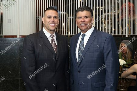 Anthony Munoz, right, and Michael Munoz attend the 9th Annual NFL Honors at the Adrienne Arsht Center, in Miami