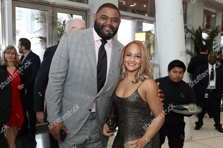 Orlando Pace, left, and Carla Pace attend the 9th Annual NFL Honors at the Adrienne Arsht Center, in Miami