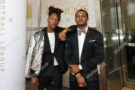 DeAndre Hopkins, left, and Deshaun Watson, both of the Houston Texans, attend the 9th Annual NFL Honors at the Adrienne Arsht Center, in Miami