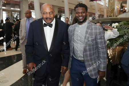 Jim Brown, left, and LaDainian Tomlinson attend the 9th Annual NFL Honors at the Adrienne Arsht Center, in Miami