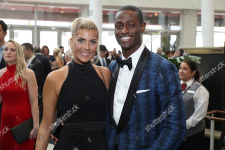 Pierre Desir, right, of the Indianapolis Colts, and guest attend the 9th Annual NFL Honors at the Adrienne Arsht Center, in Miami