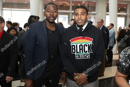 Bobby Wagner, right, of the Seattle Seahawks, and guest attend the 9th Annual NFL Honors at the Adrienne Arsht Center, in Miami