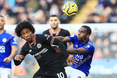 Chelsea's Willian wins the head challenge against Leicester's Ricardo Pereira during the premier league match between Leicester City and Chelsea at the King Power Stadium in Leicester, England, Saturday, February 1st, 2020