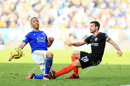 Chelsea's Cesar Azpilicueta wins the ball from Leicester's Ricardo Pereira during the premier league match between Leicester City and Chelsea at the King Power Stadium in Leicester, England, Saturday, February 1st, 2020
