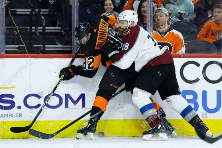 Connor Bunnaman, Ian Cole. Colorado Avalanche's Ian Cole, right, collides with Philadelphia Flyers' Connor Bunnaman during the first period of an NHL hockey game, in Philadelphia
