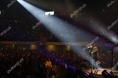US filmmaker Michael Moore (R) addresses the crowd during a campaign rally for US Senator Bernie Sanders during the Bernie Caucus Concert at the U.S. Cellular Center in Cedar Rapids, Iowa, USA, 01 February, 2020. The first-in-the-nation Iowa caucuses are scheduled for 03 February 2020.