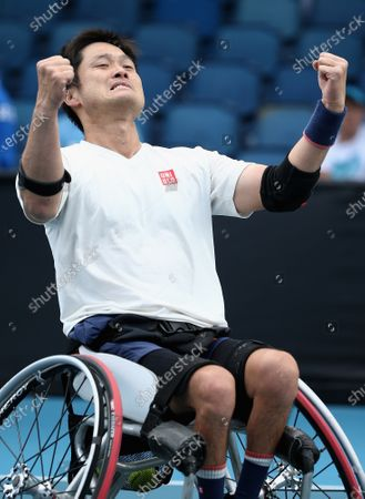 Shingo Kunieda of Japan in celerbrates winning against Gordon Reid of Britain during the Men's Wheelchair Singles final match at the Australian Open Grand Slam tennis tournament in Melbourne, Australia, 02 February 2020.