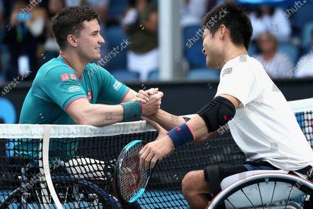 Shingo Kunieda of Japan and Gordon Reid of Britain shake hands after the Men's Wheelchair Singles final match at the Australian Open Grand Slam tennis tournament in Melbourne, Australia, 02 February 2020.