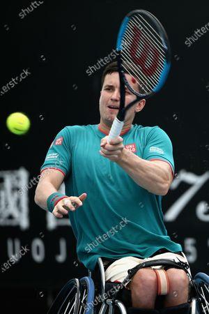 Gordon Reid of Britain in action against Shingo Kunieda of Japan during the Men's Wheelchair Singles final match at the Australian Open Grand Slam tennis tournament in Melbourne, Australia, 02 February 2020.