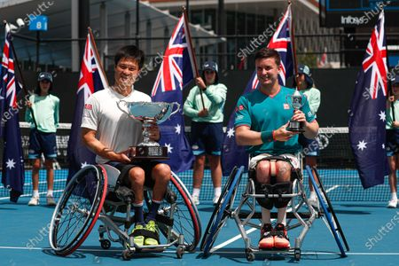 Winner Shingo Kunieda (L) of Japan and runner-up Gordon Reid (R) of Britain pose with their trophies after the Men's Wheelchair Singles final match at the Australian Open Grand Slam tennis tournament in Melbourne, Australia, 02 February 2020.