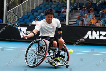Shingo Kunieda of Japan in action against Gordon Reid of Britain during a Men's Wheelchair Singles final match at the Australian Open Grand Slam tennis tournament in Melbourne, Australia, 02 February 2020.