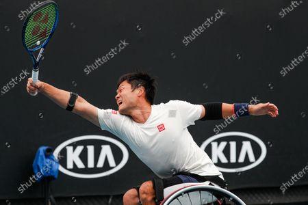 Stock Photo of Shingo Kunieda of Japan in action against Gordon Reid of Britain during a Men's Wheelchair Singles final match at the Australian Open Grand Slam tennis tournament in Melbourne, Australia, 02 February 2020.