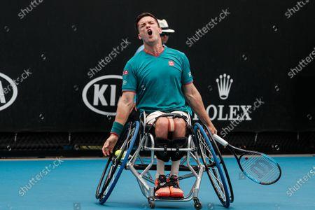 Stock Image of Gordon Reid of Britain in action against Shingo Kunieda of Japan during the Men's Wheelchair Singles final match at the Australian Open Grand Slam tennis tournament in Melbourne, Australia, 02 February 2020.