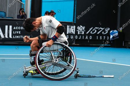 Shingo Kunieda of Japan reacts after winning his Men's Wheelchair Singles final match against Gordon Reid of Britain at the Australian Open Grand Slam tennis tournament in Melbourne, Australia, 02 February 2020.