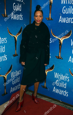 Aisha Tyler poses at the 2020 Writers Guild Awards at the Beverly Hilton, in Beverly Hills, Calif