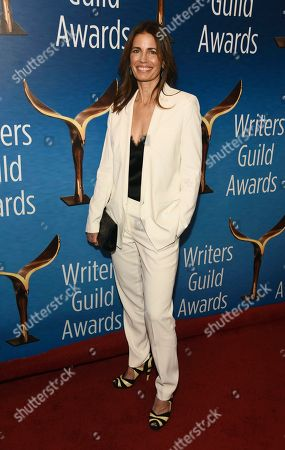 "Stock Image of Susannah Grant, a Writers Guild Award nominee for Adapted Long Form Television for ""Unbelievable,"" poses at the 2020 Writers Guild Awards at the Beverly Hilton, in Beverly Hills, Calif"