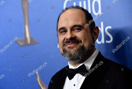 """Stock Picture of Craig Mazin, a Writers Guild Award nominee for Original Long Form Television for """"Chernobyl,"""" poses at the 2020 Writers Guild Awards at the Beverly Hilton, in Beverly Hills, Calif"""