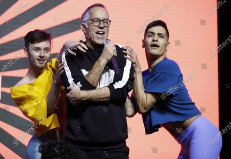 Retiring Sundance Film Festival Director John Cooper (C) lip syncs 'Last Dance' during the 2020 Sundance Film Festival awards night in Park City, Utah, USA, 01 February 2020. The festival ran from the 22 January to 02 February 2020.