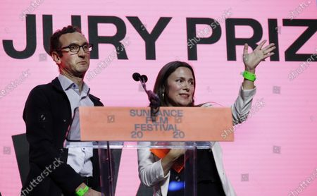 US director Amanda McBaine (R) and Canadian director Jesse Moss (L) accept the Grand Jury Prizes award (US Documentary) for 'Boys State' during the 2020 Sundance Film Festival awards night in Park City, Utah, USA, 01 February 2020. The festival ran from the 22 January to 02 February 2020.