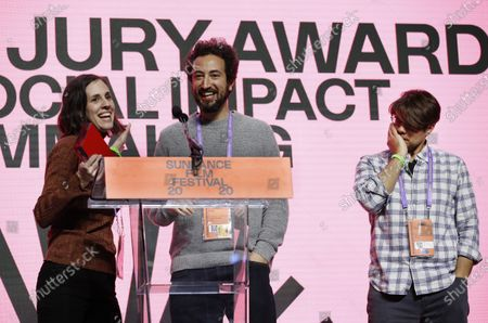 Elyse Steinberg (L), Josh Kriegman (C) and Eli Despres (R) accept the US Documentary Special Jury Award for Social Impact Filmmaking for the movie 'The Fight' at the 2020 Sundance Film Festival awards night in Park City, Utah, USA, 01 February 2020. The festival ran from the 22 January to 02 February 2020.