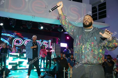 DJ Khaled performs at the Pepsi Super Splash Pool Party at Pepsi Neon Beach, in South Beach, FL