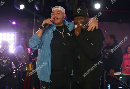 Stock Picture of 50 Cent, Fat Joe. Rappers 50 Cent and Fat Joe perform at the Pepsi Super Splash Pool Party at Pepsi Neon Beach, in South Beach, FL