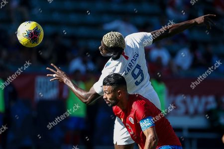 United States forward Gyasi Zardes (9) and Costa Rica defender Giancarlo Gonzalez (3) fight for a head ball during an international friendly soccer match between United States and Costa Rica in Carson, Calif., . The U.S. won 1-0