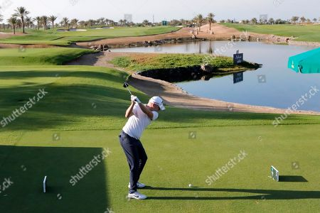 British James Morrison tees off on the first hole during the final round of the Saudi International at Royal Greens Golf and Country Club, in Red Sea resort of King Abdullah Economic City, Saudi Arabia