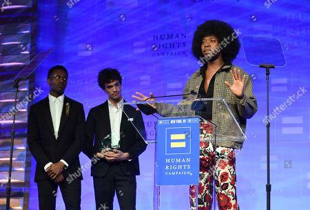 Ato Blankson-Wood, James Cusati-Moyer and Jeremy O. Harris, the playwright of Slave Play appear at the 19th Annual Human Rights Campaign Greater New York Gala on in New York