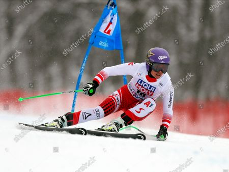 Anna Veith of Austria in action during the women's Super G race of the FIS Alpine Skiing World Cup at the Rosa Khutor ski resort in Krasnaya Polyana, near Sochi, Russia, 02 February 2020.