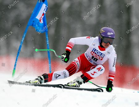 Stock Picture of Anna Veith of Austria in action during the women's Super G race of the FIS Alpine Skiing World Cup at the Rosa Khutor ski resort in Krasnaya Polyana, near Sochi, Russia, 02 February 2020.