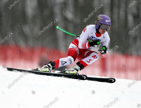 Stock Image of Anna Veith of Austria in action during the women's Super G race of the FIS Alpine Skiing World Cup at the Rosa Khutor ski resort in Krasnaya Polyana, near Sochi, Russia, 02 February 2020.