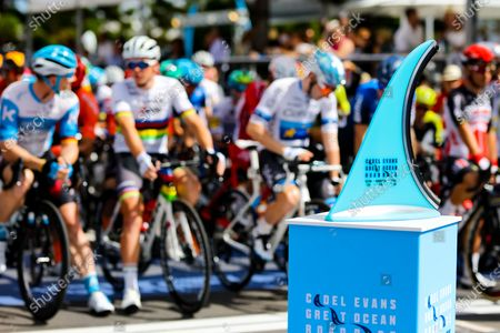 Riders and trophy before the 2020 Cadel Evans Great Ocean Road Race