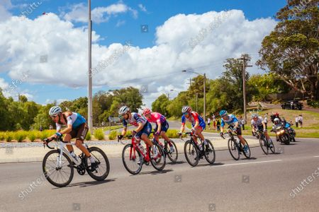 The break away group rolls thru a roundabout during the 2020 Cadel Evans Great Ocean Road Race