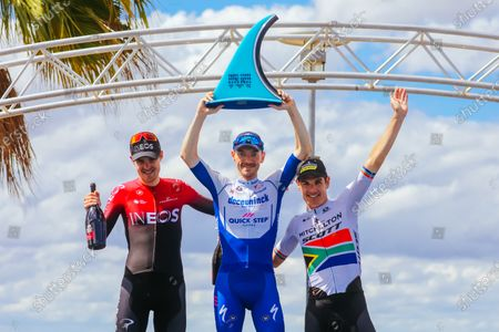 Dries Devenyns (BEL), Pavel Sivakov (RUS) and Daryl Impey (RSA) on the podium after the 2020 Cadel Evans Great Ocean Road Race