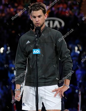 Austria's Dominic Thiem addresses the crowd after finishing runner-up to Serbia's Novak Djokovic in the men's singles final at the Australian Open tennis championship in Melbourne, Australia
