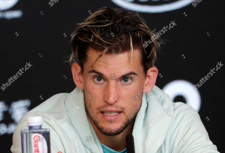 Austria's Dominic Thiem speaks at a press conference following his loss to Serbia's Novak Djokovic in the men's singles final at the Australian Open tennis championship in Melbourne, Australia, early