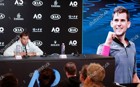 Austria's Dominic Thiem speaks at a press conference following his loss to Serbia's Novak Djokovic in the men's singles final at the Australian Open tennis championship in Melbourne, Australia