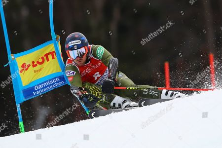 United States' Ted Ligety competes in an alpine ski, men's World Cup giant slalom, in Garmisch Partenkirchen, Germany
