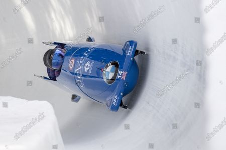 The Team Brad Hall from Britain in action during the four man competition at the Bobsleigh World Cup in St. Moritz, Switzerland, 02 February 2020.