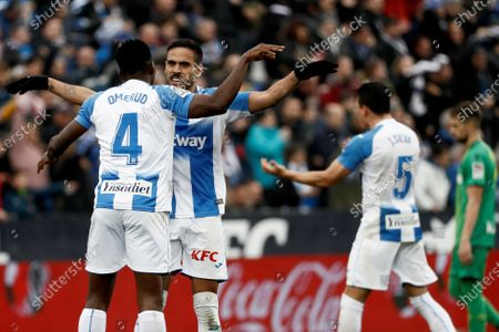 Leganes' Nigerian defender Kenneth Omeruo (L) celebrates after scoring during the Primera Division LaLiga match held between Leganes and Real Sociedad at Butarque stadium in Leganes, Madrid, Spain, 02 February 2020.