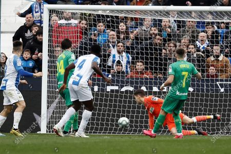 Leganes' Nigerian defender Kenneth Omeruo (3L) scores during the Primera Division LaLiga match held between Leganes and Real Sociedad at Butarque stadium in Leganes, Madrid, Spain, 02 February 2020.